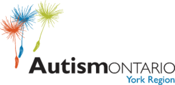Autism Ontario - York Region Logo Image with three graphic seeds of potential in red, blue and green