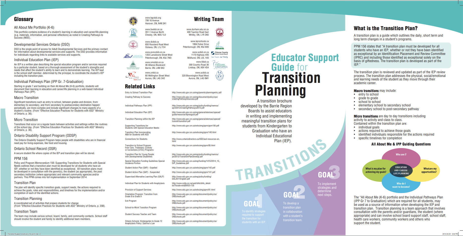 Image of Page 2 of the Educator Support Guide for Transition Planning