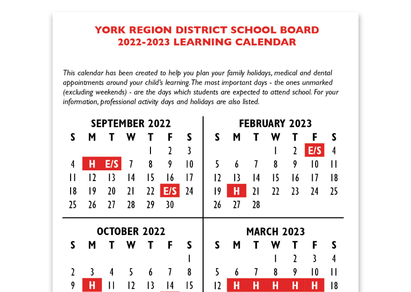 The 2018-19 School Year Calendar