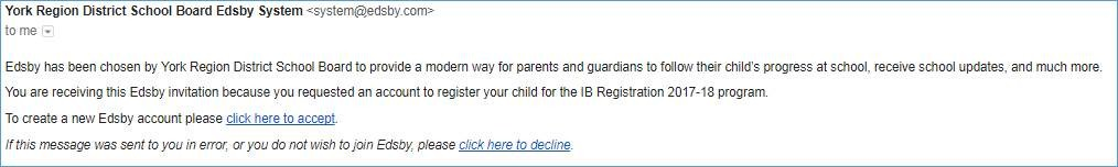 screenshot of the email that parents will receive
