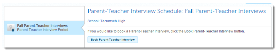 Select the Book Parent-Teacher Interview button
