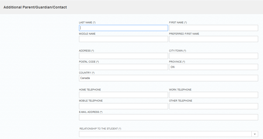 screenshot of Additional Parent/Guardian Contact page