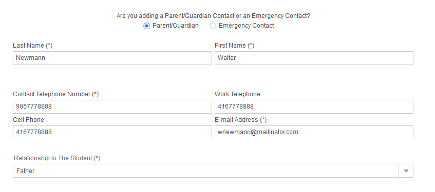 screenshot of Emergency Contact information