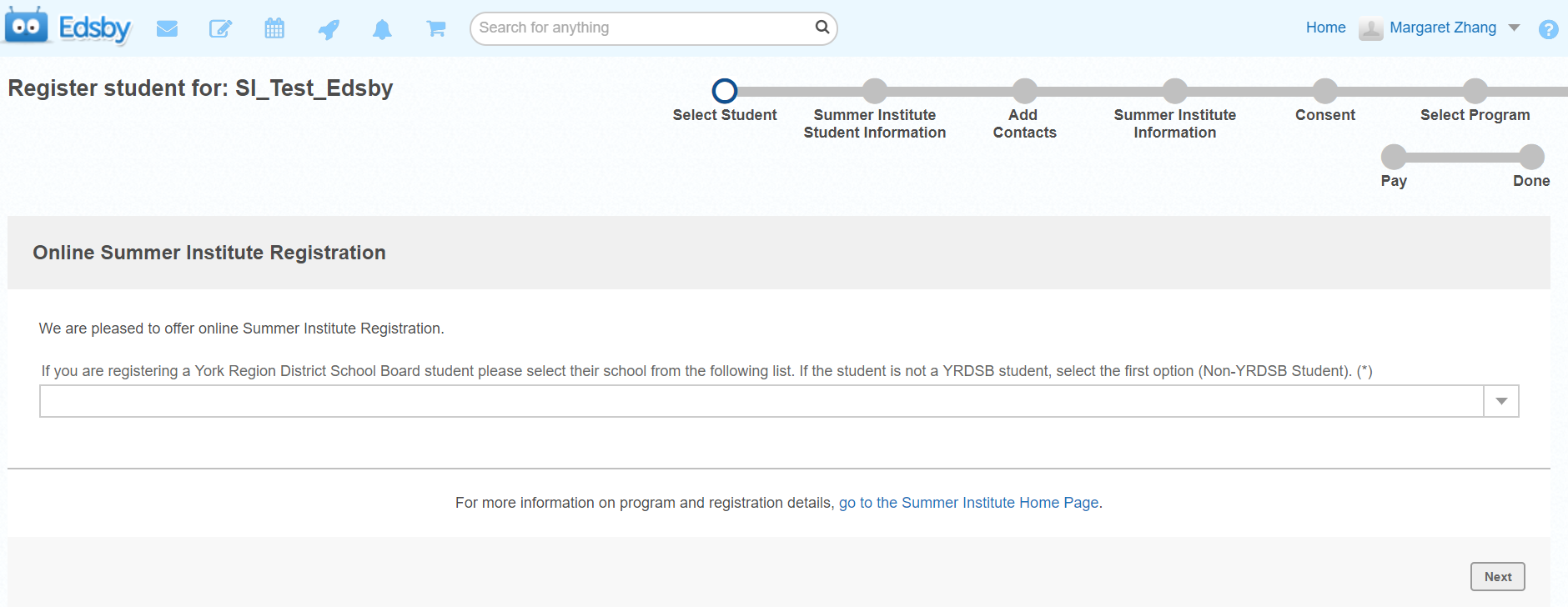 Example of current day school dropdown list