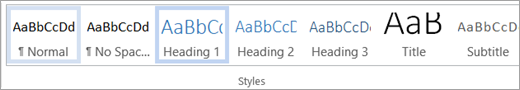 Highlighted style in the Microsoft Word Styles bar/gallery