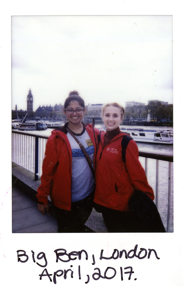 Poleroid of Elizabeth and Friend in front of Big Ben in London