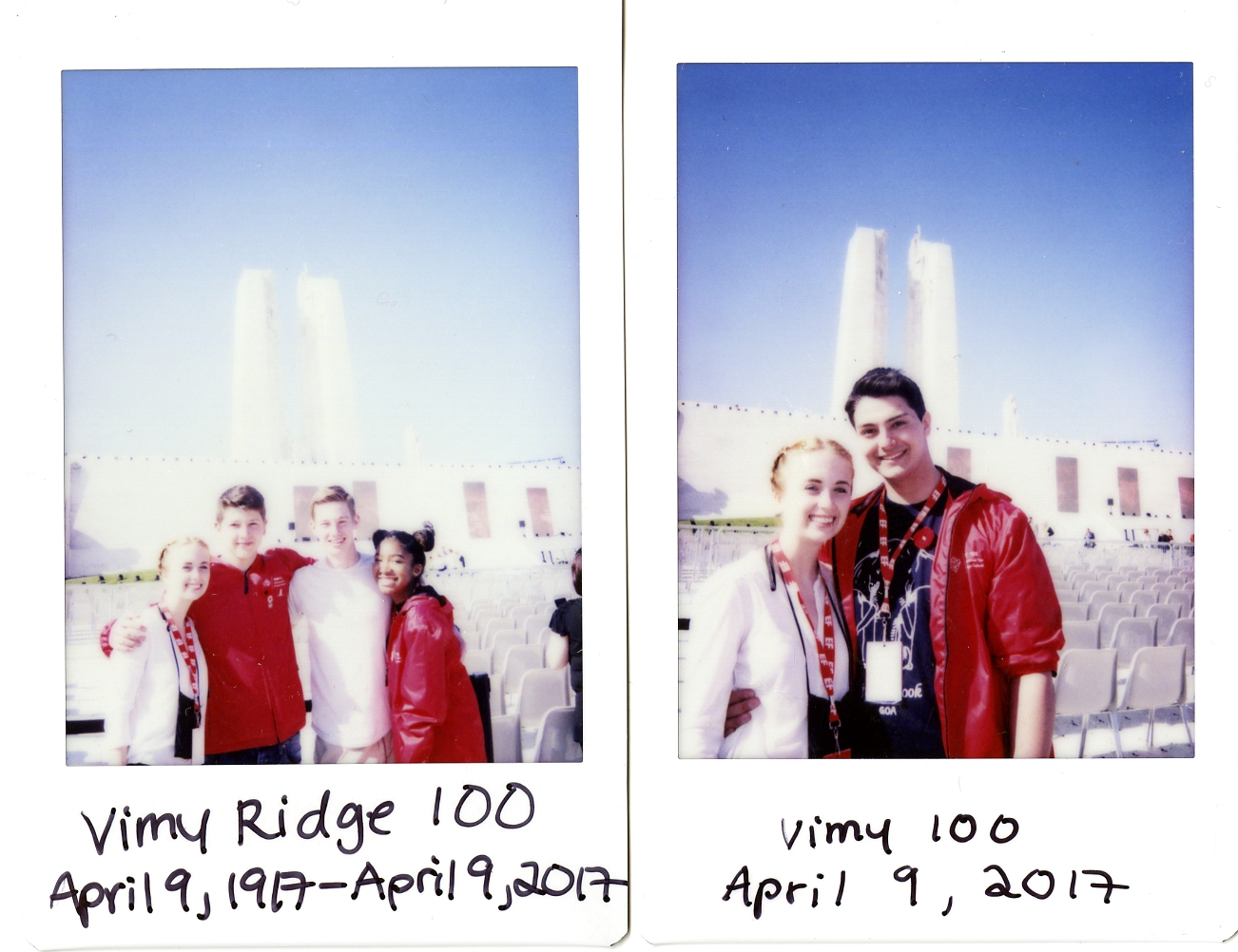 Two Poleroids of Elizabeth and her friends standing in front of Vimy Ridge Memorial Monument