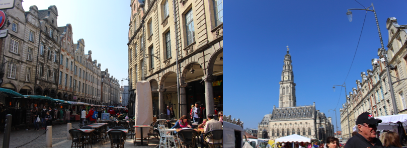 Two photographs of market in Arras
