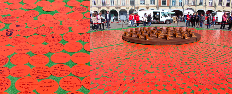 Two photos of Poppy made of small written red circle notes in the centre of a market