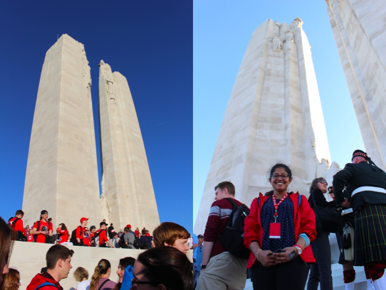 two photos of Elizabeth's friends standing on the Vimy Ridge Memorial Monument