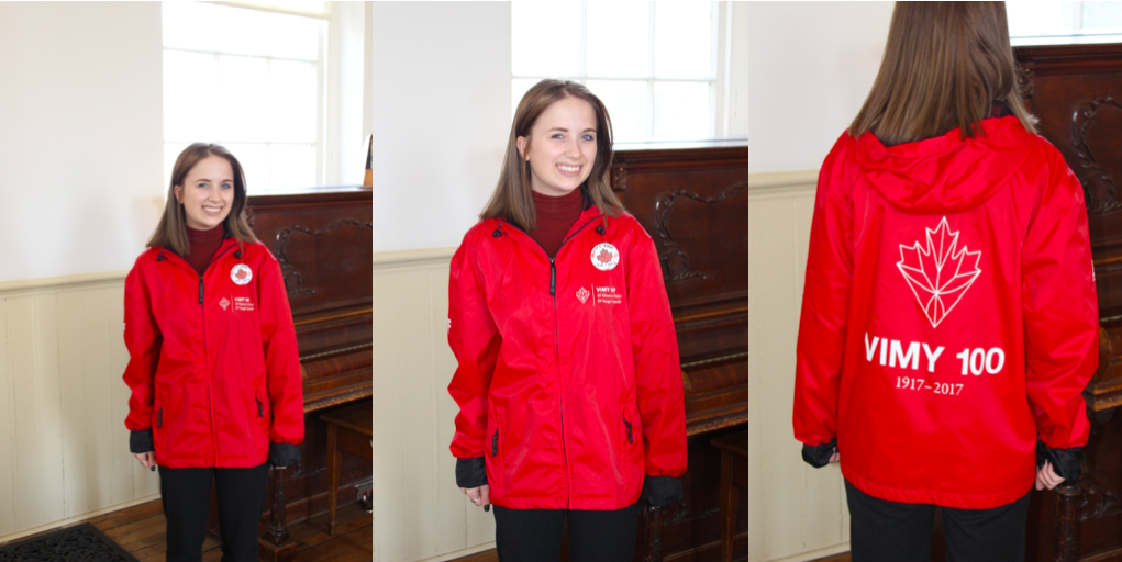 Series of 3 photographs of Elizabeth in her Red Vimy Jacket