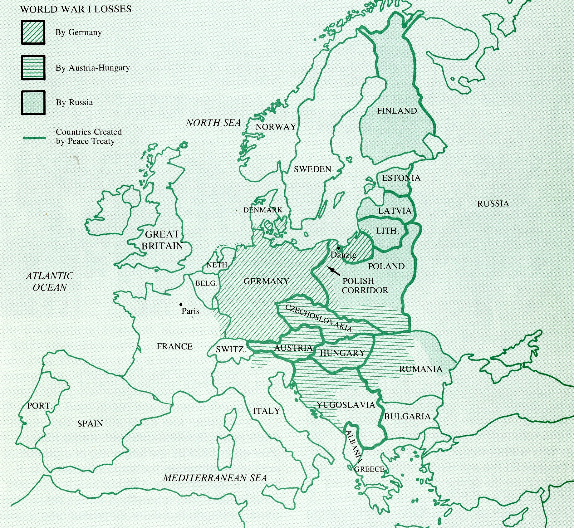 Map of World War 1 losses from the Treaty of Versailles