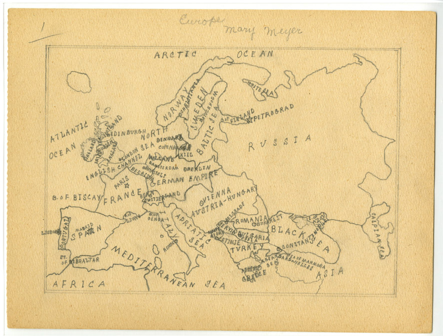 Hand-drawn map of pre-war Europe.