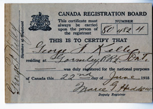 Canadian Registration Day card that would have been carried on the person of George Kelly.