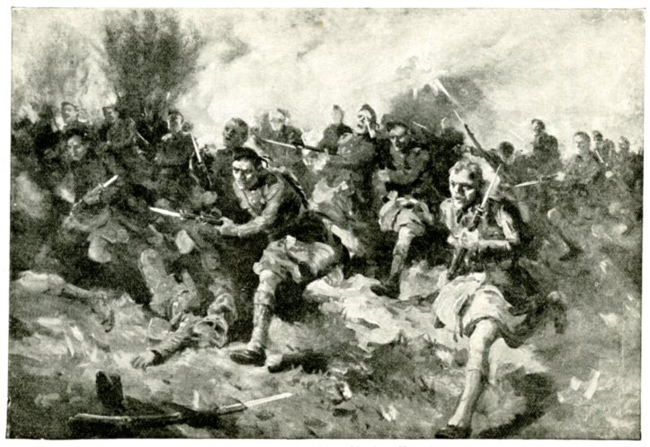 A battle during the war.  The soldiers are running with their bayonettes forward.
