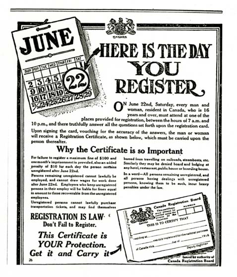 Advertisement for Registration Day, has a picture of a calender and an example of a registration card.