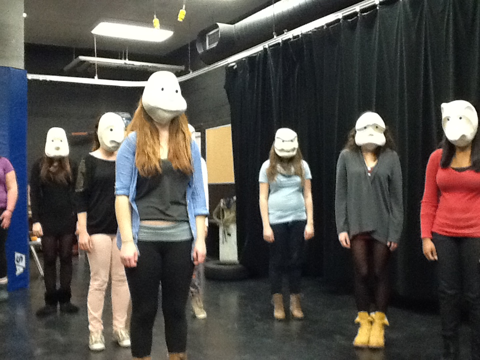Grade 12 students exploring mask in performance